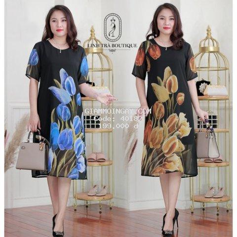Đầm suông Linh Trà hoạ tiết hoa tulip - mã TM135