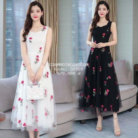 Đầm voan nữ họa tiết hoa 1D41709