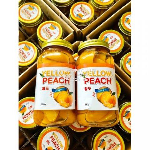 Đào ngâm Yellow Peach Hàn Quốc hủ thủy tinh 680g