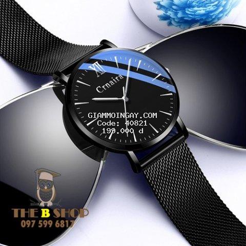 Đồng hồ nam dây thép lưới Minimalist Crnaira chính hãng thời trang cao cấp full box