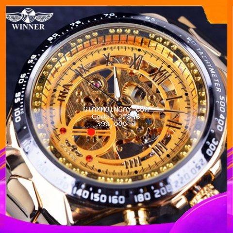 Đồng hồ nam Winner3- cơ lộ máy dây thép không gỉ