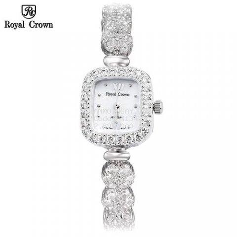 Đồng hồ nữ chính hãng Royal Crown 1514 dây đá vỏ trắng