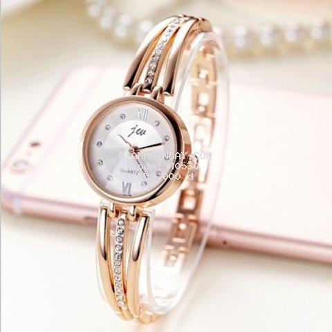 Đồng hồ nữ _ thời trang - Đồng hồ nữ dây thép_lụa Jeu