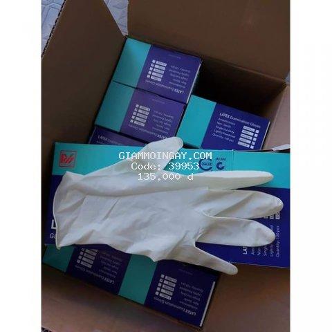 Găng tay cao su LATEX có bột ( SIZE M - màu trắng) Duy Hàng hộp 50 đôi