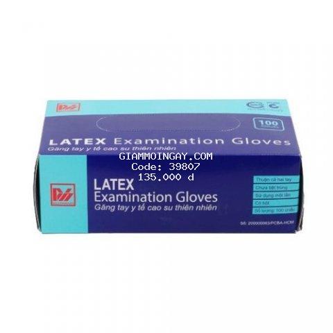 Găng tay y tế cao su thiên nhiên có bột (Size S - màu trắng) 100 chiếc ( hộp) dùng trong phòng khám,nha khoa