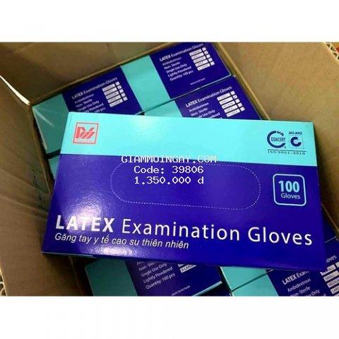 Găng tay y tế LATEX (Size S - màu trắng) có bột duy hàng dày, dẻo, co dãn tốt 10 hộp/thùng