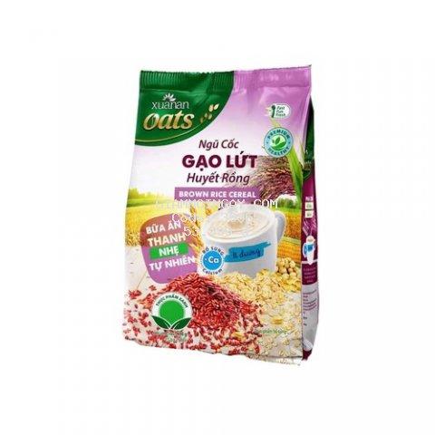 Gạo lức huyết rồng , yến mạch, malt, bắp, đậu nành, muối đường, bột kem thực vật, canxi, chất xơ, với hương vị thơm ngon tự nhiên. Đặc biệt rất tốt cho những người giảm cân.