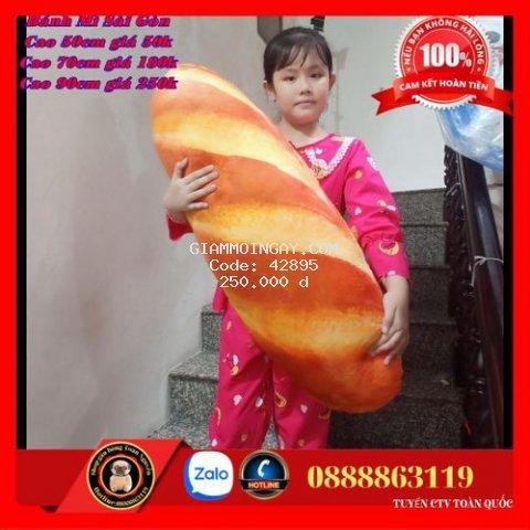 Gấu bông hình bánh mì gối ôm 3D vải nhung mịn hàng việt nam size 90cm cho bé 1-10 tuổi