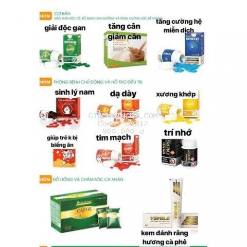 Gencel plus, join Link plus, detox, vhealth, kidmune, lactocol, Manlink, Bách xuân, Vhanakin, Vnaturecare, ....