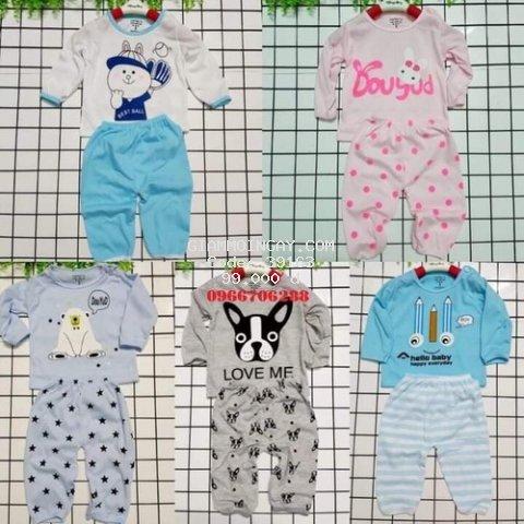 [HỖ TRỢ SHIP] 5 bộ quần áo trẻ em TẶNG KÈM YẾM - quần áo cho bé cotton  dài chui