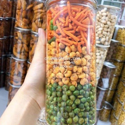 hỗn hợp bim bim que - đậu hà lan- bắp sấy ăn vặt