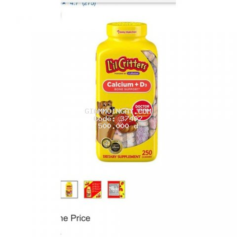 Kẹo dẻo bổ sung canxi Lil Critters Calcium + D3 Gummy Bears