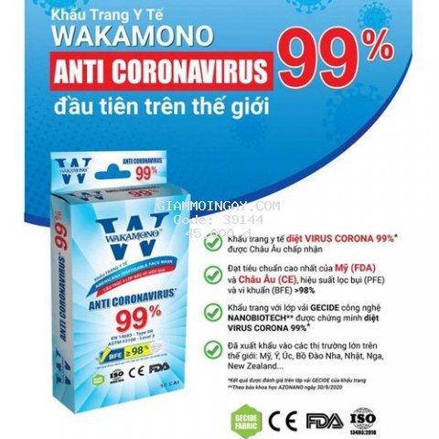 Khẩu trang Wakamono ngăn Covid 99% (4 lớp, hộp 10 cái)