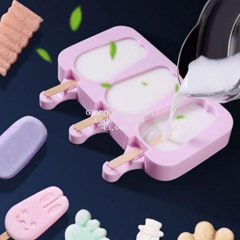 Khuôn làm kem que hình mèo và gấu bằng silicon tặng thêm 50 que kem gỗ - Khuôn làm kem que nhật bản
