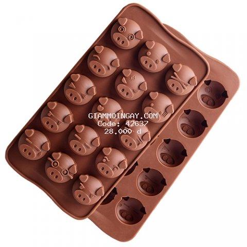 Khuôn silicon heo 15 ô đổ socola kẹo dẻo hay làm thạch rau câu hình h