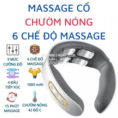 Máy mát xa cổ cao cấp, có chườm nóng - 4 đầu tiếp xúc, 6 chế độ massage khác nhau, 9 cường độ massage - Màu Trắng