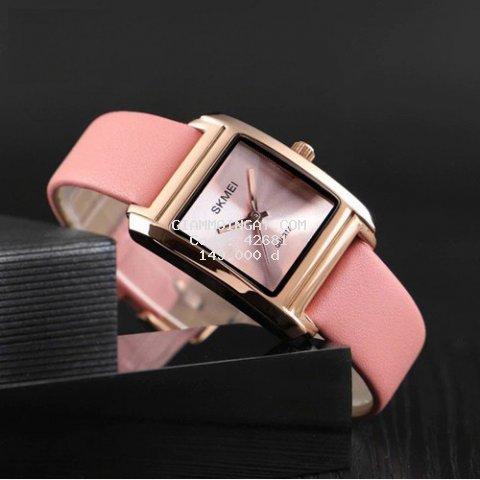 (MIỄN PHÍ SHIP - ĐƯỢC XEM HÀNG) Đồng hồ nữ Skmei mặt chữ nhật dây da mềm