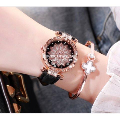 [MIỄN PHÍ VẬN CHUYỂN] Đồng hồ nữ dây da mặt hoa viền đính đá kim sa chính hiệu CVTR, tặng hộp và pin dự phòng, bảo hành 2 năm