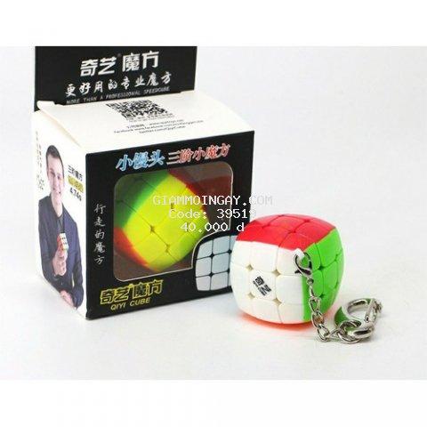 Móc Khóa Rubik 3x3 Stickerless, xoay được