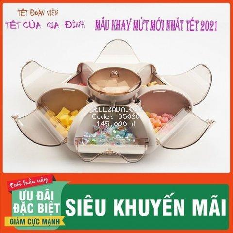 [Mới nhất 2021] Khay Mứt, Khay Đựng Bánh Kẹo 6 Cánh Hoa Tự Bung