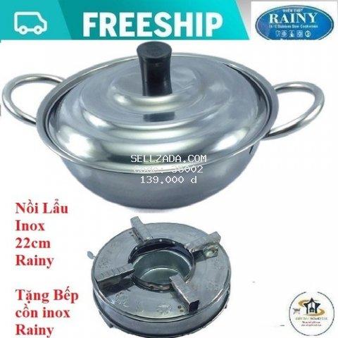 [Nhập SD44HG Giảm 20K] Nồi nấu lẩu Inox  Rainy 22cm  + Tặng bếp cồn cao cấp Rainy - Hàng Chính Hãng