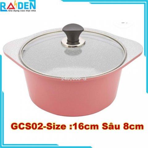 Nồi Đúc Chống  Dính GreenCook Ceramic GCS02 -16IH Vân Đá Size 16 cm  Sâu 8cm