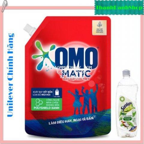 Nước giặt OMO Matic cửa trên túi 2.2kg.Tặng chai nước rửa chén Sunlight thiên nhiên túi 370g