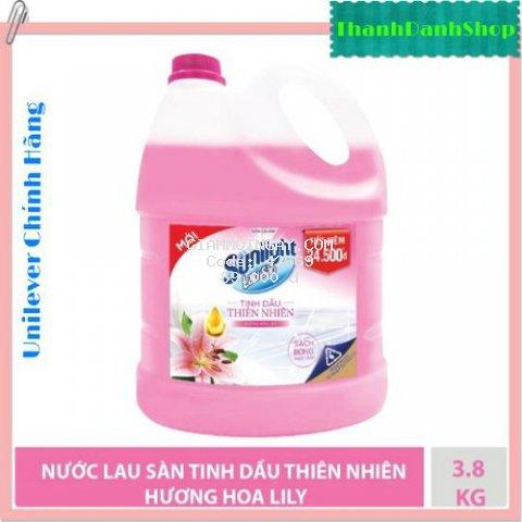 Nước lau sàn Sunlight hương hoa lily tinh dầu thiên nhiên can 3.8kg sàn nhà sạch bóng ngát hương dài lâu