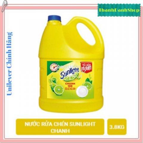Nước rửa chén Sunlight chanh 100 can 3.8kg đánh bay dầu mỡ an toàn với da tay