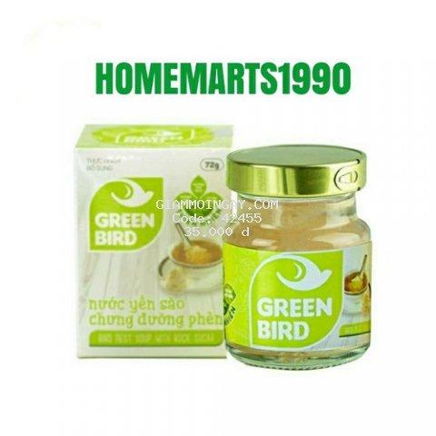 Nước Yến Sào Chưng Đường Phèn Green Bird - NUTRINEST - Hũ Đơn 72gr