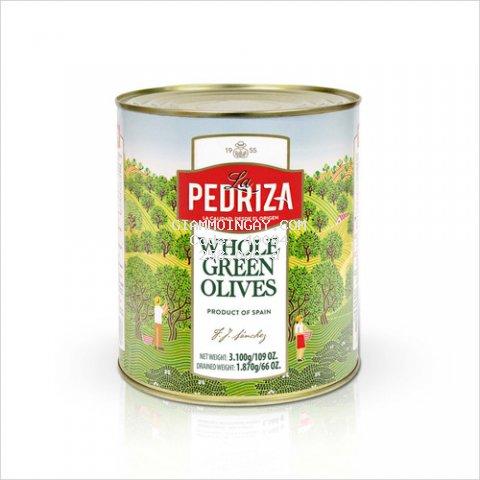 Ô Liu (oliu/olives) xanh nguyên hạt nhãn hiệu La Pedriza - Hộp 3kg - Nhập khẩu Tây Ban Nha