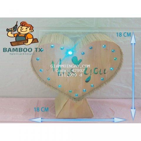 Quà tặng Mô hình Handmade Tăm tre Bamboo TX mẫu tim đơn