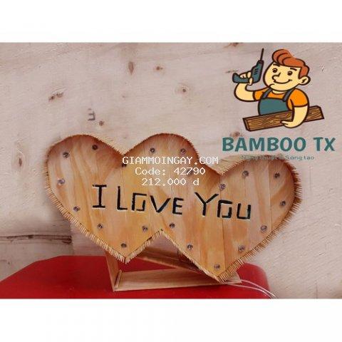 Quà tặng tăm tre handmade tim đôi chọn màu led
