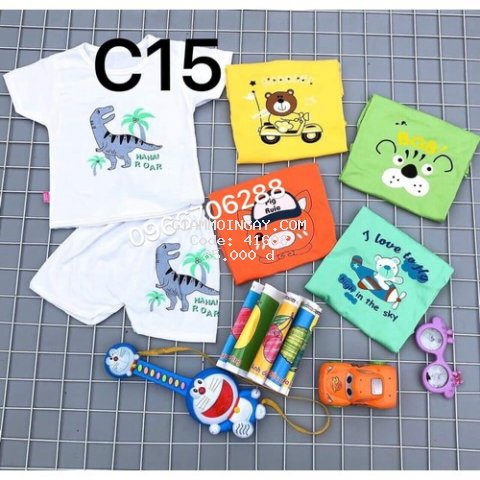 Quần áo trẻ em Combo 5 bộ   - Quần áo cho bé cotton cộc chui