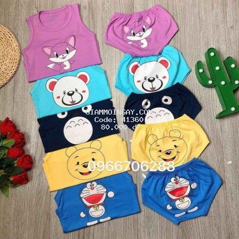 Quần áo trẻ em set 5 bộ  - quần áo cho bé thun cotton ba lỗ