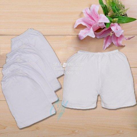 Quần chục sơ sinh màu trắng 10 cái cho bé từ 3kg-10kg, vải cotton cao cấp co giãn, mềm mại, thấm hút mồ hôi, quần đùi chục cho bé trai và bé gái