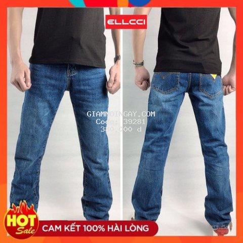 Quần jean nam ống rộng ống suông màu xanh đẹp chất liệu Denim cao cấp, shop uy tín ELLCCI Thiên đường quần bò jean nam đẹp cao cấp, địa chỉ mua quần ống xuông nam hàng đầu hiện nay