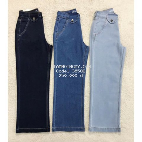 Quần jean ống suông rộng culottes trơn