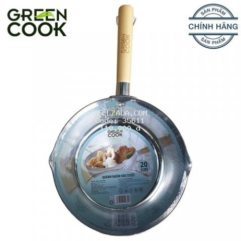 Quánh nồi nhôm vân tuyết 20 cm Green Cook GCS04-20 tay cầm bằng gỗ chắc chắn