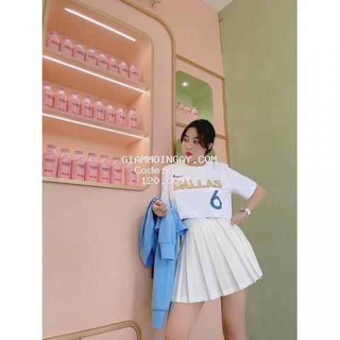 Set Áo Thun Kết Hợp Với Chân Váy Xòe_ Áo Phông Thiên Thần Mix Chân Váy Ngắn Siêu Xinh