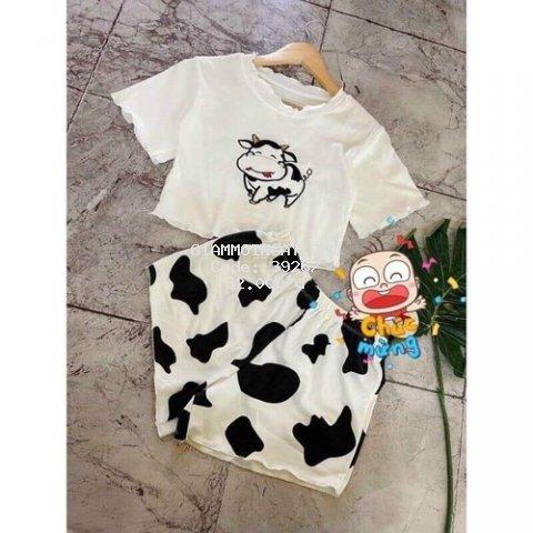 Set bộ bò sữa siêu xinh_áo croptop body+quần sooc năng động