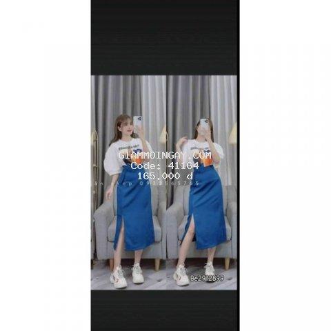 set nguyên bộ váy xẻ tà siêu thời trang