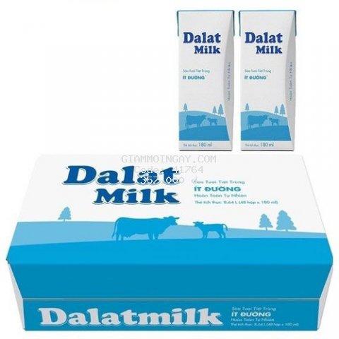 Sửa tươi tiệt trùng dalatmilk hộp giấy 180ml (1 thùng gồm 48 hộp)