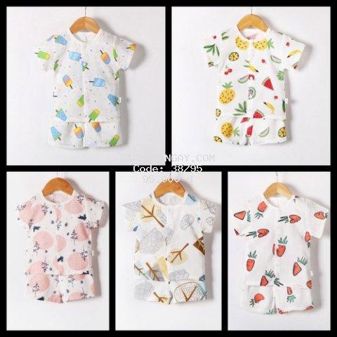 [TẶNG KÈM YẾM] 5 bộ quần áo trẻ em cộc khuy giữa - HỖ TRỢ SHIP