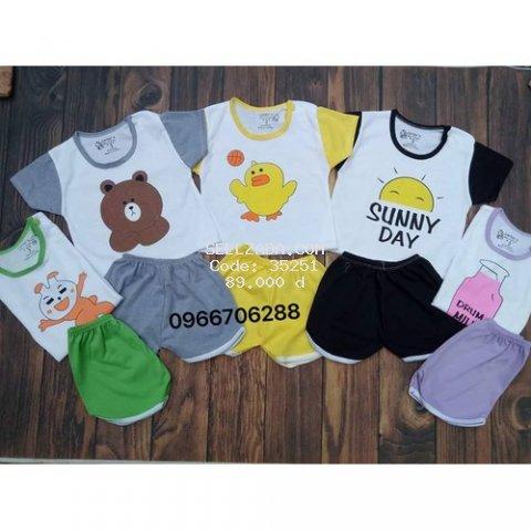 [TẶNG KÈM YẾM] 5 bộ quần áo trẻ em  HỖ TRỢ SHIP - quần áo cho bé cotton cộc chui