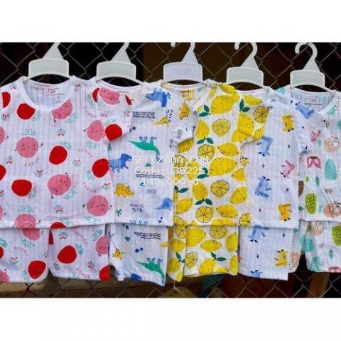 (TẶNG KHẨU TRANG)combo 5 bộ cotton giấy ngắn tay mềm mát cho bé 4 đến 14 kg
