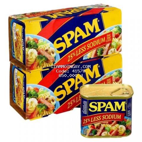 Thịt đóng Hộp Spam 25% Less Sodium x4 1.36kg