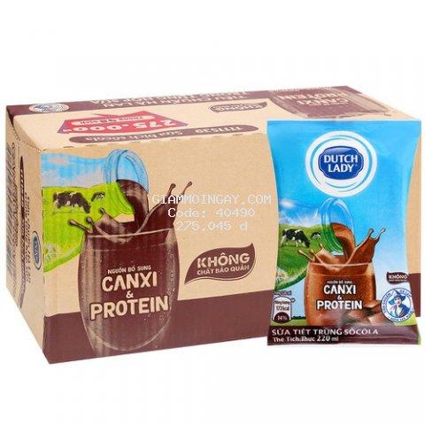 Thùng sữa tiệt trùng Dutch Lady hương socola 220ml x 48 bịch
