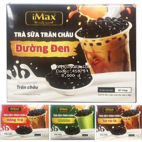 Trà Sữa Trân Châu Đường Đen/ Hồng Trà/ Matcha/ Socola hòa tan tự pha iMax Milk Tea dạng gói hộp 8 set - 416g