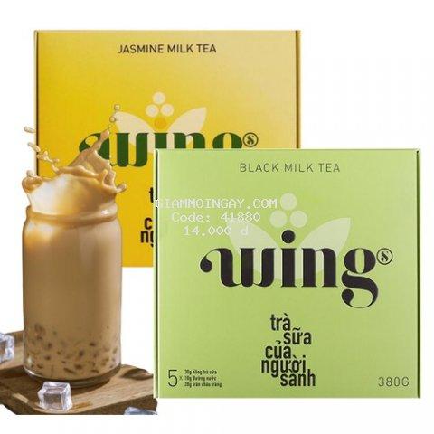 Trà sữa Wings - Hồng trà/ Trà nhài sữa trân châu hòa tan tự pha dạng gói hộp 5 set - 380g